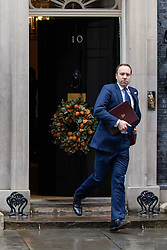 © Licensed to London News Pictures. 17/12/2019. London, UK. Secretary of State for Health and Social Care Matt Hancock leaving Downing Street after attending a Cabinet meeting this morning. Photo credit : Tom Nicholson/LNP