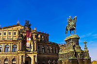 King Johann monument and the Semper Opera House, Theaterplatz, Dresden, Saxony, Germany