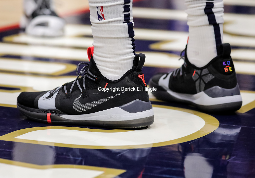 Oct 23, 2018; New Orleans, LA, USA; A detail of shoes worn by New Orleans Pelicans guard Elfrid Payton during the second half against the Los Angeles Clippers at the Smoothie King Center. The Pelicans defeated the Clippers 116-109. Mandatory Credit: Derick E. Hingle-USA TODAY Sports