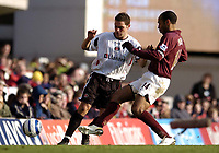 Photo: Olly Greenwood.<br />Arsenal v Charlton Athletic. The Barclays Premiership. 18/03/2006. Charlton's Luke Young (L) and Arsenals Thierry Henry battle.