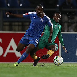 Cliffton Miheso of Golden Arrows tackling Luyanda Ntshangase of Maritzburg Utd during the 2016 Premier Soccer League match between Maritzburg Utd and Golden Arrows held at the Harry Gwala Stadium in Pietermaritzburg, South Africa on the 28th October 2016<br /> <br /> Photo by:   Steve Haag / Real Time Images