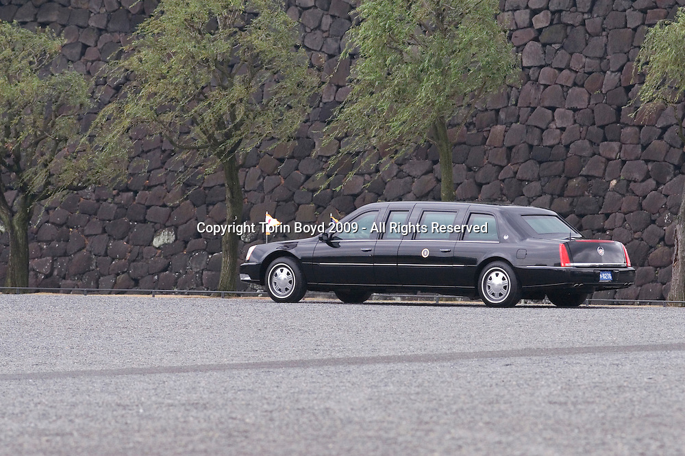 "This is US President Barack Obama's limousine and motorcade exiting the Imperial Palace in Tokyo, Japan just after Obama had a lunch meeting with Japanese Emperor Akihito and Empress Michiko on November 14, 2009. This entrance to the Imperial Palace is called ""Nijubashi"" or Double Bridge and is an iconic view of Tokyo only used for official state visits and special occasions. As for Mr. Obama, this brief visit to Japan was his first as a US President. When he arrived in Tokyo on Fri. Nov,13 he immediately held a summit with new Japanese Prime Minister Yukio Hatoyama. In addition to the talks with PM Hatoyama, on his second and final day in Japan, Mr. Obama gave a speech on Asian policy to invited guests and then met with the Emperor. His visit to Japan was cut short a day due by the killing rampage at at Fort Hood, Texas. After Japan, Obama will travel to Singapore to attend the 2009 APEC summit in Singapore and afterwards will visit China and Korea."