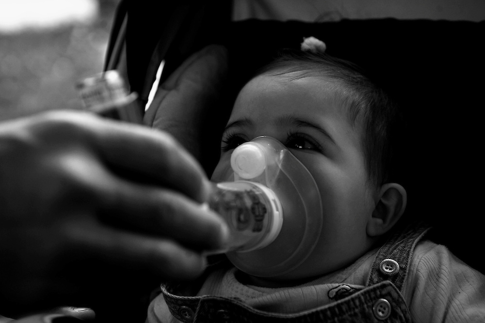 Coal mines and power stations in Ptolemaida, a city located north of Kozani, in west Macedonia, northern Greece. .Kassiani is another child suffering from respiratory problems in a very young age.