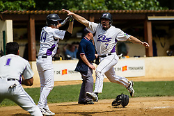 Aram Kushigian celebrates his go-ahead run during the 2014 French Challenge first round.