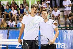 Aljaz Jakob Kaplja and  Sven Lah of Slovenia during Doubles 1st Round of ATP Challenger Tilia Slovenia Open 2016, on August 8, 2016 in Portoroz/Portorose, Slovenia. Photo by Vid Ponikvar / Sportida