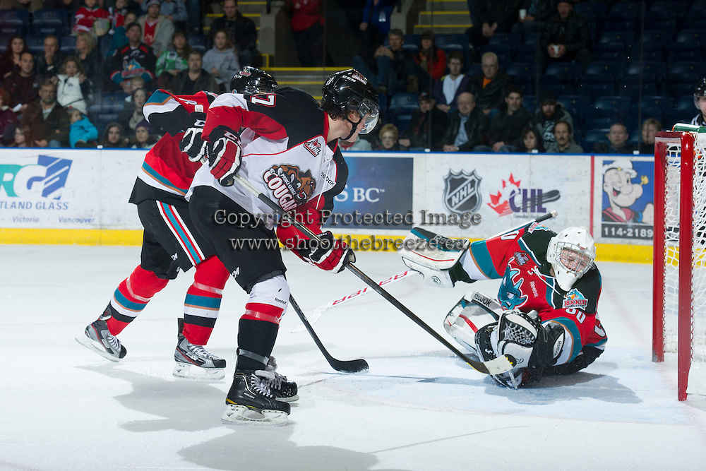 KELOWNA, CANADA - DECEMBER 8: Jordon Cooke #30 of the Kelowna Rockets fails to stop a rebound shot by Alex Forsberg #27 of the Prince George Cougars at the Kelowna Rockets on December 8, 2012 at Prospera Place in Kelowna, British Columbia, Canada (Photo by Marissa Baecker/Shoot the Breeze) *** Local Caption ***