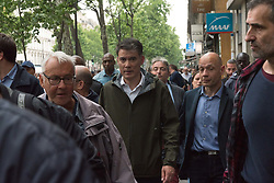 "French socialist party first secretary Olivier Faure (C) takes part in a demonstration, on May 22, 2018 in Paris, during a nationwide day protest by French public sector employees and public servants against the overhauls proposed by French President, calling them an ""attack"" by the centrist leader against civil services as well as their economic security. Photo by Samuel Boivin / ABACAPRESS.COM"