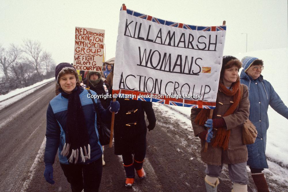 Women's march around the Derbyshire Coalfield during the 1984-85 miner's strike.