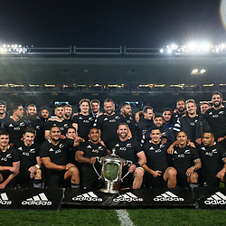 The All Blacks celebrate winning the Bledisloe Cup Rugby match between the New Zealand All Blacks and Australia Wallabies at Eden Park in Auckland, New Zealand on Saturday, 17 August 2019. Photo: Simon Watts / lintottphoto.co.nz