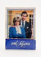 London, England - June 09, 2017: Commemorative Book of Matches celebrating the Royal Wedding of Lady Diana Spencer and HRH Prince Charles on the 29th July 1981.