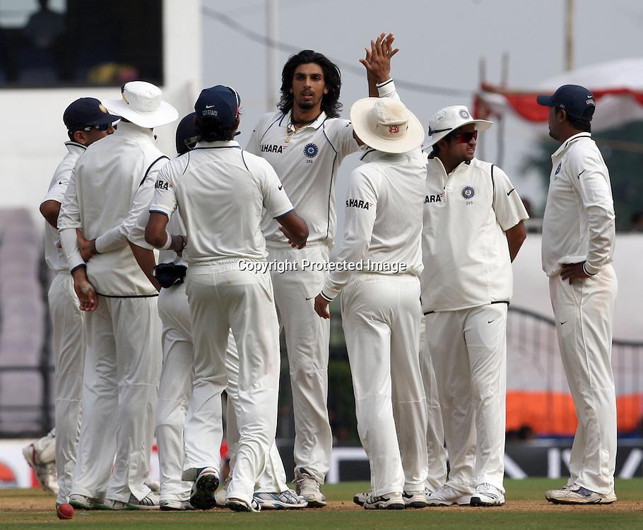 Indian bowler Ishant Sharma celebrates with team mates New Zealand batsman Andy McKay wicket during The India vs New Zealand 3rd test match day-2 Played at Vidarbha Cricket Association Stadium, Jamtha, Nagpur, 21, November 2010 (5-day match)