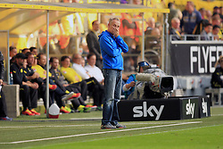 28.09.2013, Signal Iduna Park, Dortmund, GER, 1. FBL, Borussia Dortmund vs SC Freiburg, 7. Runde, im Bild Trainer Christian Streich (SC Freiburg) haelt sich fassungslos, enttaeuscht die Hand vor den Mund, Emotion // during the German Bundesliga 7th round match between Borussia Dortmund and SC Freiburg at the Signal Iduna Park, Dortmund, Germany on 2013/09/28. EXPA Pictures &copy; 2013, PhotoCredit: EXPA/ Eibner/ Joerg Schueler<br /> <br /> ***** ATTENTION - OUT OF GER *****