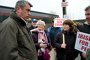 06/03/2013. Colm Keaveney TD  speaks to protestors near the court house in Loughrea, Galway where turf cutters where up on charges in relation to the cutting of turf in an area of conservation. Picture:Andrew Downes..