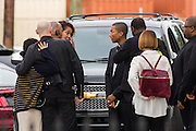 Superstar Pharrell Williams arrives at the historic Mother Emanuel AME Church to perform with the Gospel Choir during Sunday service November 1, 2015 in Charleston, South Carolina. The church was the site of the mass shooting that killed nine-people in June 2015 and will be featured is part of a program on race relations being produced by A+E Networks.