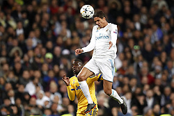 (l-r)  Blaise Matuidi of Juventus FC, Raphael Varane of Real Madrid during the UEFA Champions League quarter final match between Real Madrid and Juventus FC at the Santiago Bernabeu stadium on April 11, 2018 in Madrid, Spain