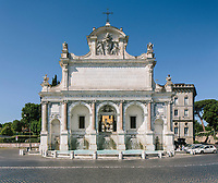 """ROME, ITALY - 20 JUNE 2017: A view of the Fountain of L'Acqua Paola  is seen here in the Gianicolo neighborhood in Rome, Italy, on June 20th 2017.<br /> <br /> The warm weather has brought a menacing whiff of tourists behaving badly in Rome. On April 12, a man went skinny-dipping in the Trevi fountain resulting in a viral web video and a 500 euro fine.<br /> <br /> Virginia Raggi, the mayor of Rome and a national figurehead of the anti-establishment Five Star Movement,  issued an ordinance involving harsher fines for eating, drinking or sitting on the fountains, for washing animals or clothes in the fountain water or for throwing anything other than coins into the water of the Trevi Fountain, Bernini's Four Fountains and 35 other city fountains of artistic or historic significance around the city.  """"It is unacceptable that someone use them to go swimming or clean themselves, it's an historic patrimony that we must safeguard,"""" Ms. Raggi said."""