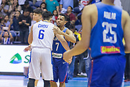 November 27, 2017 - Cubao, Quezon City, Philippines - Jayson Williams give Yi-Hsiang Chou a hug after a close game between Gilas Pilipinas and Chinese Taipei.Gilas Pilipinas defended their home against Chinese Taipei. Game ended at 90 - 83. (Credit Image: © Noel Jose Tonido/Pacific Press via ZUMA Wire)