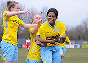 Rochelle Shakes shows her passion as she celebrates hers and Palace's second of the game during the Women's FA Cup match between Charlton Athletic WFC and Crystal Palace LFC at Sporting Club Thamesmead, Thamesmead, United Kingdom on 8 March 2015. Photo by Michael Hulf.