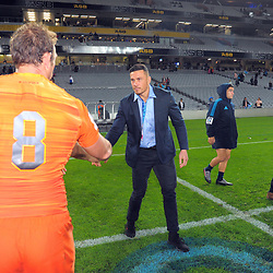 Salvatore Leonardo shakes hands with Sonny Bill Williams after the Super Rugby match between the Blues and Jaguares at Eden Park in Auckland, New Zealand on Friday, 28 April 2018. Photo: Dave Lintott / lintottphoto.co.nz