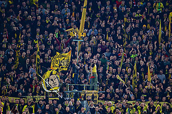 DORTMUND, GERMANY - Thursday, April 7, 2016: Borussia Dortmund supporters on the Yellow Wall during the UEFA Europa League Quarter-Final 1st Leg match against Liverpool at Westfalenstadion. (Pic by David Rawcliffe/Propaganda)