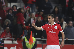 February 3, 2018 - Lisbon, Portugal - Benfica's forward Jonas celebrates after scoring a goal during the Portuguese League  football match between SL Benfica and Rio Ave FC at Luz  Stadium in Lisbon on February 3, 2018. (Credit Image: © Carlos Costa/NurPhoto via ZUMA Press)