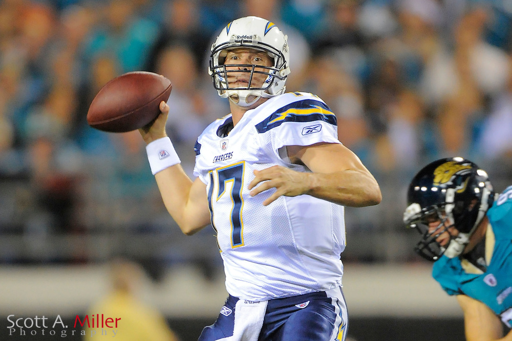 San Diego Chargers quarterback Philip Rivers (17) looks to pass during the first half of the Chargers game against the Jacksonville Jaguars at EverBank Field on Dec. 5, 2011 in Tampa, Fla. .©2011 Scott A. Miller