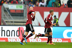 25.01.2014, easyCredit Stadion, Nuernberg, GER, 1. FBL, 1. FC Nuernberg vs TSG 1899 Hoffenheim, 18. Runde, im Bild Josip Drmic (1 FC Nuernberg) bejubelt sein Tor zum 2:0, macht eine Geste, die den Buschstaben T darstellt Rechts: Mike Frantz (1 FC Nuernberg) // during the German Bundesliga 18th round match between 1. FC Nuernberg and TSG 1899 Hoffenheim at the easyCredit Stadion in Nuernberg, Germany on 2014/01/25. EXPA Pictures © 2014, PhotoCredit: EXPA/ Eibner-Pressefoto/ Merz<br /> <br /> *****ATTENTION - OUT of GER*****