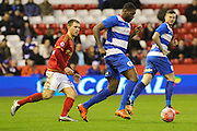 Queens Park Rangers forward Jay Emmanuel-Thomas heads for the goal during The FA Cup third round match between Nottingham Forest and Queens Park Rangers at the City Ground, Nottingham, England on 9 January 2016. Photo by Aaron Lupton.