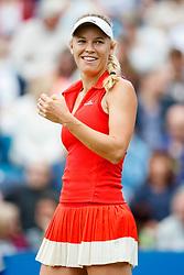 Aegon International 2017- Eastbourne - England - WTA Women's Singles Final. Caroline Wozniacki (Denmark sharing a lighter moment during her match against Karolina Pliskova (Czech Republic). Saturday, 1st, July, 2017 - Devonshire Park.<br /> (Photo by Nick Walker/Sport Picture Library)