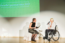Urska Kustura and Mateja Pintar during Slovenian Disabled Sports personality of the year 2017 event, on December 6, 2017 in Austria Trend Hotel, Ljubljana, Slovenia. Photo by Vid Ponikvar / Sportida