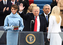 January 20, 2017 - Washington, District of Columbia, U.S. - President DONALD J. TRUMP waves after the Oath of Office at the inauguration. Trump became the 45th President of the United States. (Credit Image: © Pat Benic/CNP via ZUMA Wire)