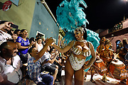 20180208/ Nicolas Celaya - adhocFOTOS/ URUGUAY/ MONTEVIDEO/ BARRIO SUR/ Preparacion y participacion de la comparsa Templando en Puerto Rico en el Desfile de Llamadas.<br /> En la foto: Yessy L&oacute;pez durante la participacion de la comparsa Templando en Puerto Rico en el Desfile de Llamadas.  Foto: Nicol&aacute;s Celaya /adhocFOTOS
