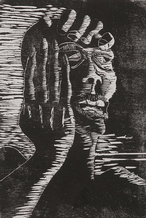MIGRAINE, woodcut 1991
