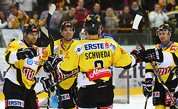 01.01.2013, Albert Schultz Eishalle, Wien, AUT, EBEL, UPC Vienna Capitals vs SAPA Fehervar AV19, 37. Runde, im Bild Torjubel Francoise Fortier, (UPC Vienna Capitals, #15), Benoit Gratton, (UPC Vienna Capitals, #25), Peter Schweda, (UPC Vienna Capitals, #2) und Rafael Rotter, (UPC Vienna Capitals, #6) // during the Erste Bank Icehockey League 37th Round match betweeen UPC Vienna Capitals and SAPA Fehervar AV19 at the Albert Schultz Ice Arena, Vienna, Austria on 2013/01/01. EXPA Pictures © 2013, PhotoCredit: EXPA/ Thomas Haumer