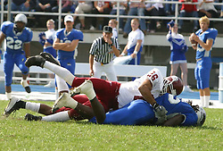 12 October 2002: Jason Gray brings down the Panthers ball carrier. Eastern Illinois University Panthers host and defeat the Colonels of Eastern Kentucky during EIU's Homecoming at Charleston Illinois.