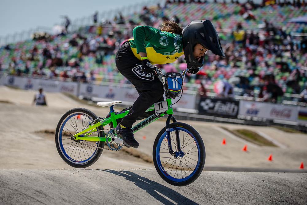 13 Girls #11 (JONG Caitlin) AUS at the 2018 UCI BMX World Championships in Baku, Azerbaijan.