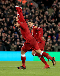 Liverpool's Roberto Firmino celebrates scoring his side's second goal of the game during the Premier League match at Anfield, Liverpool.