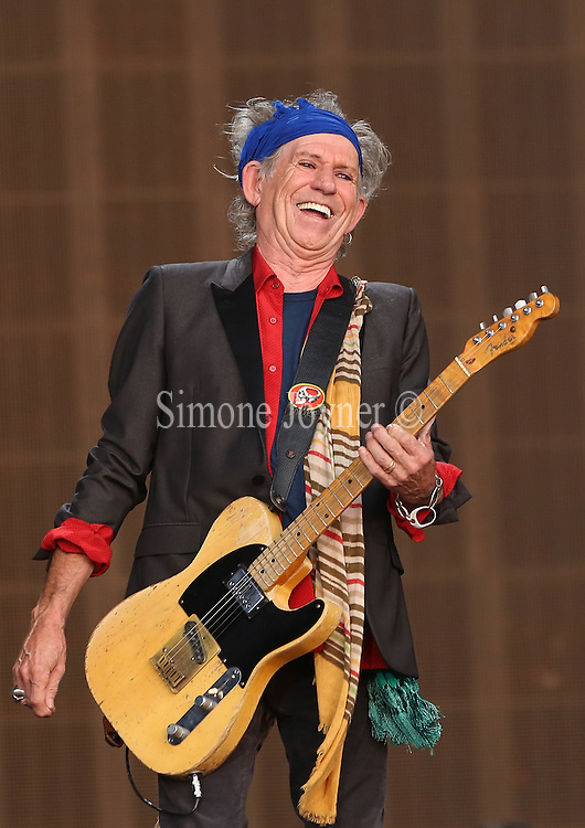 LONDON, ENGLAND - JULY 06:  Keith Richards of The Rolling Stones performs live on stage during day two of British Summer Time Hyde Park presented by Barclaycard at Hyde Park on July 6, 2013 in London, England.  (Photo by Simone Joyner)
