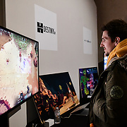 students Games in Italy exhibition at London Games Festival 2019: HUB at Somerset House at Strand, London, UK. on 2nd April 2019.