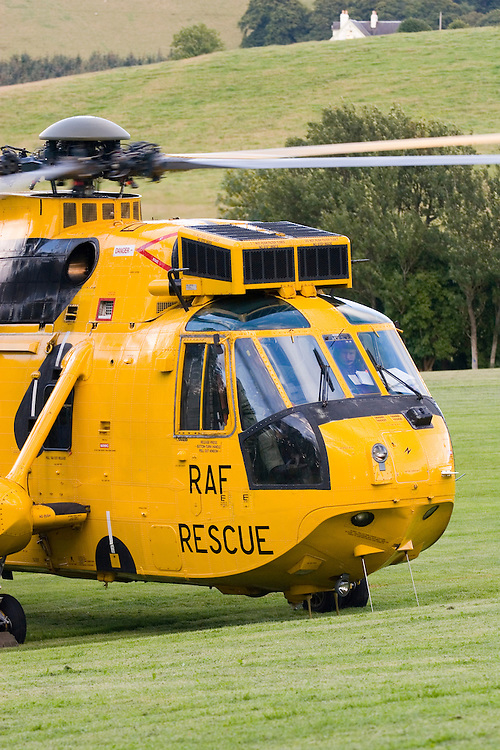 RAF Search and Rescue Helicopter on exercise in Selkirk, Scottish Borders - with the Tweed Valley Mountain Rescue