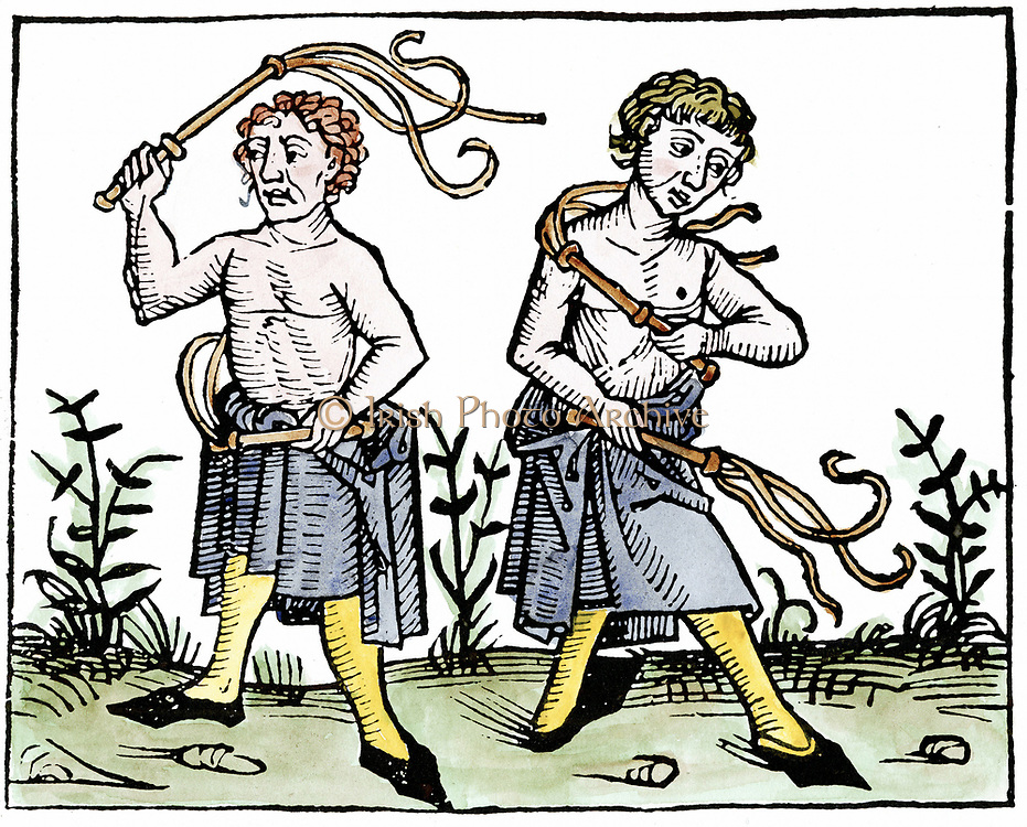 Flagellants. At time of Black Death in Europe, sect went through streets scourging themselves in attempt to take sins of population on themselves and save them from God's wrath manifested in form of plague. Woodcut 1493