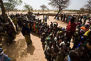 Children wait in line to get vaccinated against meningitis at a MSF vaccination site in Fagougaou, Niger on Friday April 17, 2009..