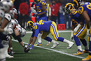 Los Angeles Rams defensive tackle Ethan Westbrooks (95) in action during the NFL Super Bowl 53 football game against the New England Patriots on Sunday, Feb. 3, 2019, in Atlanta. The Patriots defeated the Rams 13-3. (©Paul Anthony Spinelli)