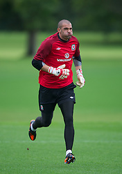 CARDIFF, WALES - Monday, August 13, 2012: Wales' goalkeeper Boaz Myhill during a training session at the Vale of Glamorgan ahead of the international friendly match against Bosnia-Herzegovina. (Pic by David Rawcliffe/Propaganda)