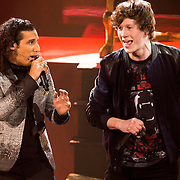 NLD/Hilversum/20141219- Finale The Voice of Holland 2014, Guus Mulder en Ali B.