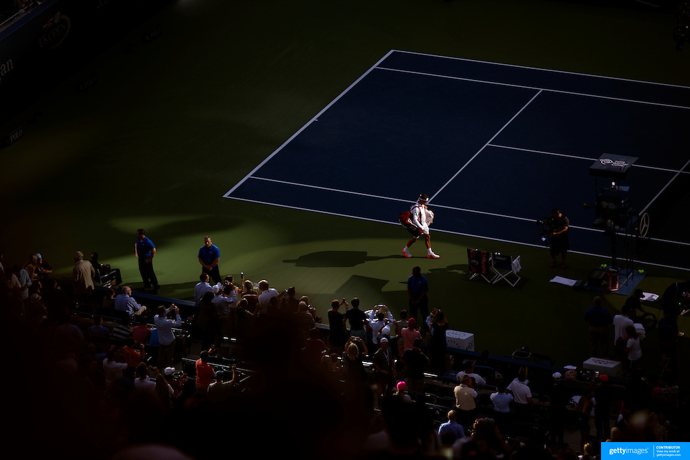 Roger Federer, Switzerland, enters Arthur Ashe Stadium for his match against Stan Wawrinka, Switzerland in the Men's Singles Semifinals during the US Open Tennis Tournament, Flushing, New York, USA. 11th September 2015. Photo Tim Clayton