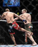 "MANCHESTER, ENGLAND, NOVEMBER 14, 2009: Jared Hamman (left) and Alexander Gustafsson are pictured during ""UFC 105: Couture vs. Vera"" inside the MEN Arena in Manchester, United Kingdom."