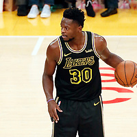 30 March 2018: Los Angeles Lakers forward Julius Randle (30) dribbles during the Milwaukee Bucks 124-122 victory over the LA Lakers, at the Staples Center, Los Angeles, California, USA.