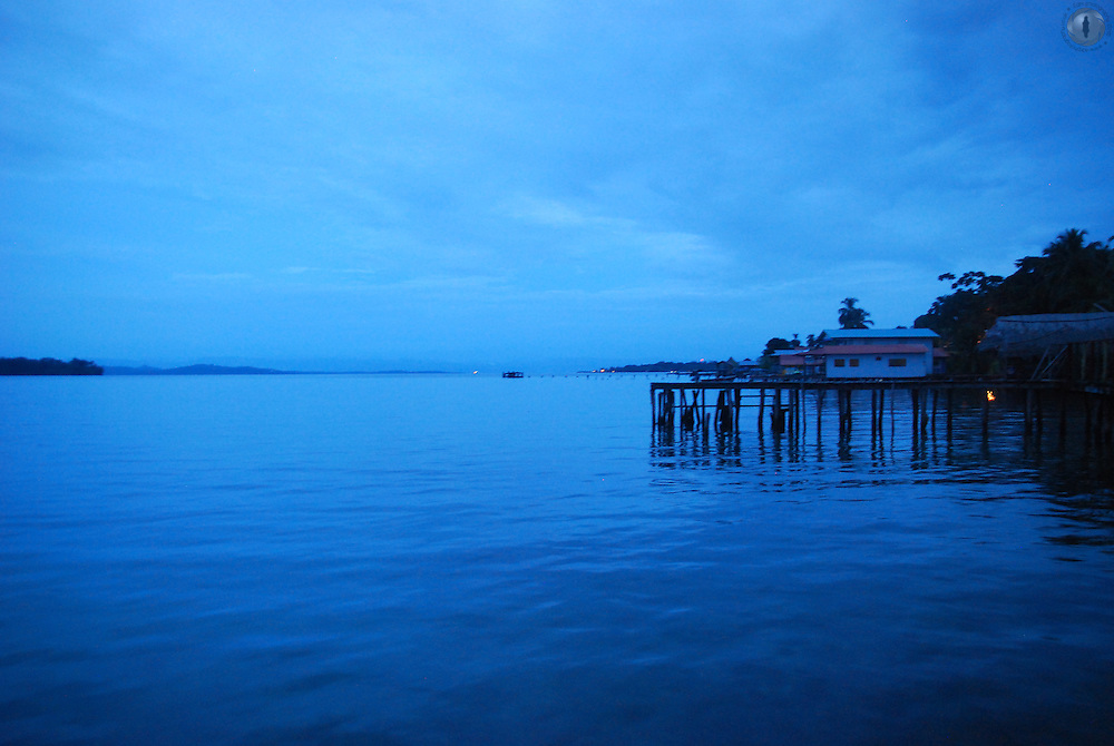 Dawn before sunrise over the Bocas del Toro in Panama, as seen from Bastimentos Island.