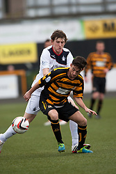 Falkirk's Blair Alston and Alloa Athletic's Kevin Cawley.<br /> Half time : Alloa Athletic 0 v 0 Falkirk, Scottish Championship 12/10/2013. played at Recreation Park, Alloa.<br /> &copy;Michael Schofield.